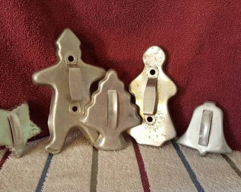 5 Vintage Aluminum Christmas cookie cutters