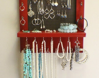 ON SALE Ravishing Red and Dark Bronze Wall Mounted Jewelry Organizer, Wall Organizer, Jewelry Display, Necklace Holder, Earring Organizer