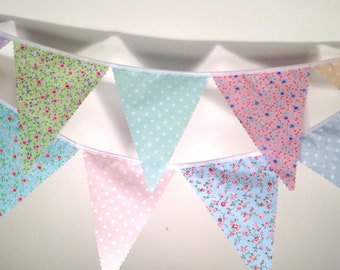 Floral Bunting with a choice of pastel pea or pin polka dots, ideal for weddings Baby Showers Choose your own length from 1 meter