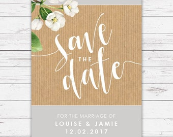 Wedding Save the Date Cards - Botanicals design, personalised and customisable