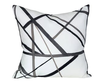 Channels Ebony/Ivory designer pillow cover - Made to Order - Kelly Wearstler