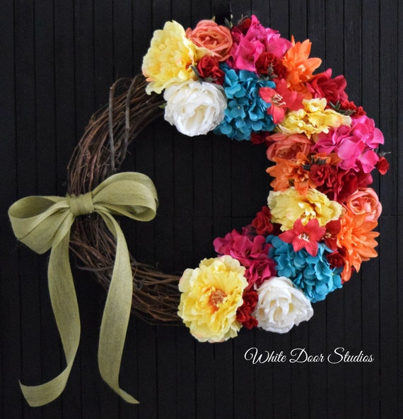 Bright Mixed Floral Spring and Summer Front Door Wreath - Ready to Ship