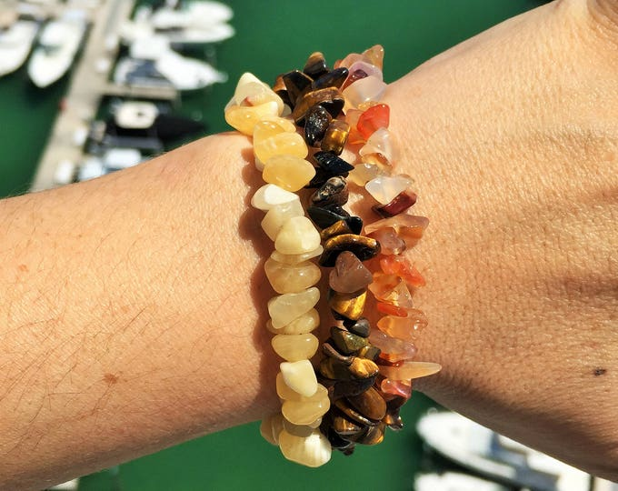 Sacral Chakra Bracelet SET infused w/ Reiki/ Bracelet Stack/ Healing Crystal Jewelry