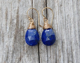 Wire Wrapped Lapis Lazuli Earrings, Teardrop Earrings, Royal Blue Earrings