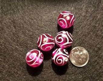 1 15mm Clear Purple with White Swirl Round Glass Bead A8