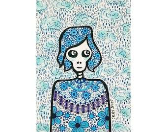 Original ACEO Art Card. Pen and Ink Illustration. Portrait. Girl. Blue. Small detailed art.