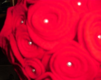 Red Felt Flower Kissing Ball