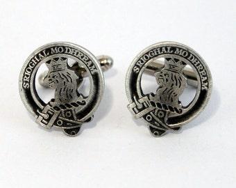 Scottish Clan Macgregor Crest Cufflinks, English Pewter, Handmade, Gift Boxed H