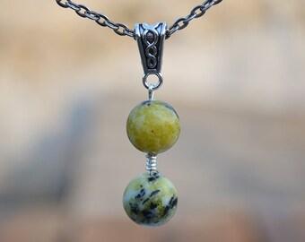 Yellow turquoise pendant, Yellow turquoise necklace, Yellow turquoise jewelry, Turquoise pendant, Unique yellow turquoise pendant necklace.