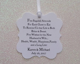 FIVE WISHES Jordan Almond Wedding Favor Tags *White &  Black *2inch Flourish Square *PERSONALIZED *Font Color Choice Available