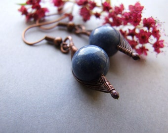 Blue Coral Earrings, Vintage Style Blue Earrings, Blue Coral Jewelry, Rustic Copper Blue Earrings
