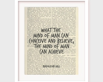 Office Poster Printable, What The Mind of Man Can Conceive and Believe The Mind of Man Can Achieve, Motivational Quote, Napoleon Hill