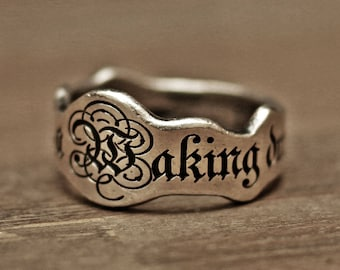 word ring, initial ring, name ring, mens ring, vintage ring, silver ring, engraved ring, personalized ring, custom ring, medieval ring
