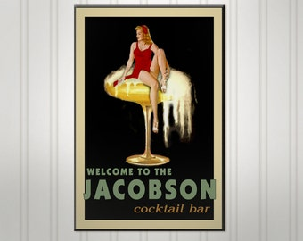Personalized Pin Up Cocktail Sign, Personalized Sign, Personalized Man Cave Bar Sign, Wood Pub Sign