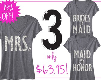 3 BRIDAL WEDDING SHIRTS 15% Off Bundle, Mrs Shirt, Bridesmaid shirt, maid of honor shirt, wedding, mrs, bridesmaid, maid of honor, bridal