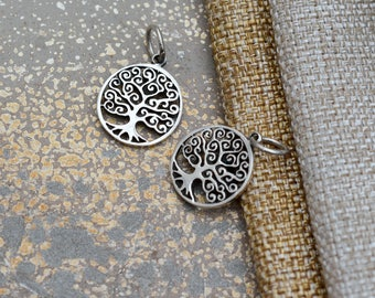 Silver Celtic Tree Charm, Round Tree of Life, Sterling Silver, Swirly Tree Necklace, Tree Jewelry, Family Tree, Christmas Gift, BS171111J