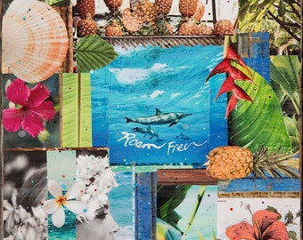 ROAM FREE, Hawaii, Giclee, 8x8 and Up,Print on Canvas, Dolphins, Hawaii, Ocean Art, Wall Art, Dolphins, Ocean Art, Love, Sea, Beach Art