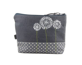 Dandelion Zip Pouch, Makeup Bag, Small Project Bag, Embroidered Floral Pouch, Notions Case, Botanical Gift, Ready to Ship