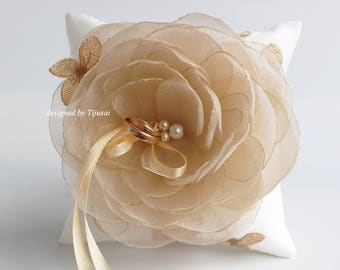 Wedding ring bearer pillow with light beige/charm flower and embroidered flowers---wedding rings pillow , wedding pillow