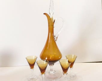 Vintage hand blown amber glass decanter cordial glasses. Italy excellent. Free ship