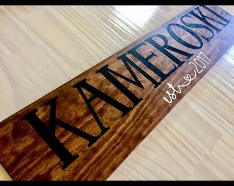 Last Name Wood Sign, Family Name Wood Sign, Personalized, Custom, Rustic, EST. Sign, Year, Date, Heart, Wedding Name Sign