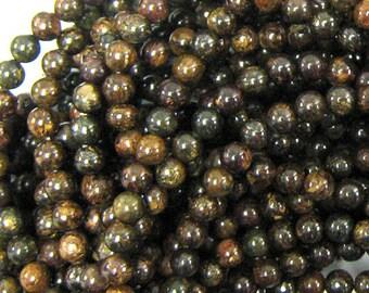 """4mm bronzite round beads 16"""" strand 34156"""