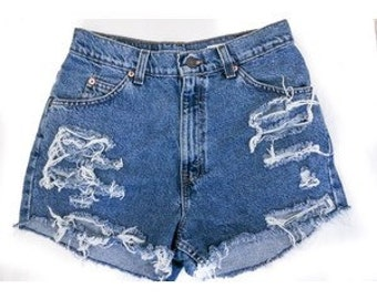 Distressed high waist shorts, high waisted shorts vintage shorts grunge  shorts