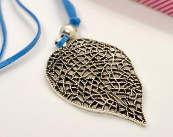 Silver leaf necklace