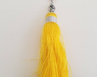 Lemon yellow tassel key chain/zipper or purse charm/bright yellow and silver color large add-on boho keychain