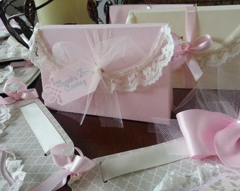 Set Of Ten Lace Trimmed Treat Boxes / Pink Favor Boxes / Favor box