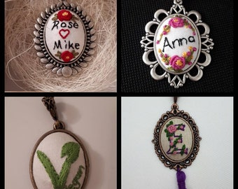 Personalised embroidery necklace