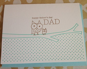 Fathers Day Card - Owl and Owlette Letterpress card for Dad's Day - Letterpress Father's Day Card