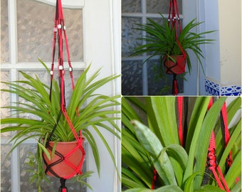 Red & Black Macrame plant hanger with Silver Beads + Free Shipping