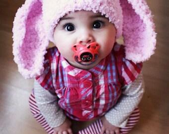 0 to 3m Newborn Bunny Hat Baby Bunny Beanie Baby Shower Gift Baby Hat Bunny Ears Baby Pink Crochet Newborn Baby Prop, Baby Gift