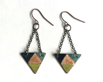 Enamel Triangle Earrings