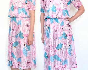80's vintage dress with rose pattern
