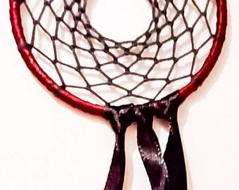 Black and red mini dream catcher, small metal hoop with black and red ribbon, customize colours, 7cm diameter