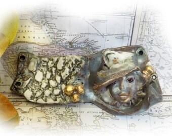 OOAK focal bead - Statement bead supply - one of kind bead -Focal Face Bead,  Handmade Ceramic bead, OOAK pottery bead   # 90