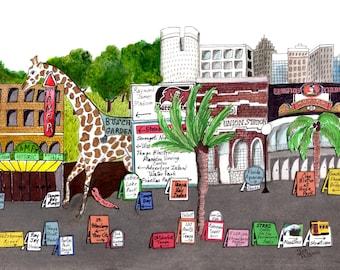 TAMPA MEMORIES Watercolor Painting Matted Unframed Theater Wurlitzer Steinbrenner Buccaneers Busch Gardens Zoo Sykes Beer Can Building FL