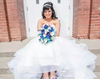 Molly's Bridal Bouquet with Turquoise Hydrangeas, Blue Violet Dendrobium Orchids, White Calla Lilies,Singapore,Galaxy
