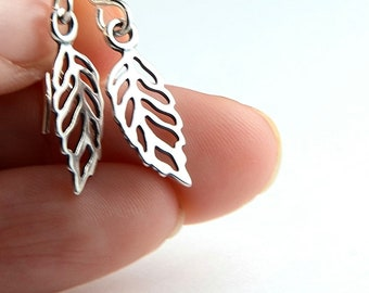 All Sterling Leaf Earrings, nature inspired sterling jewerly