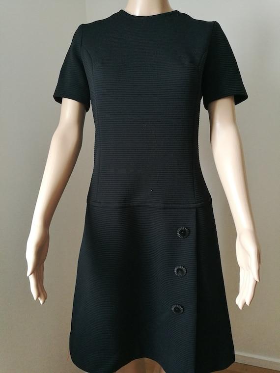 Vintage mod 60's black Koret of California drop waist scooter stewardess dress size S-M