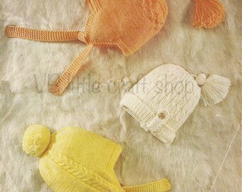Children's hats knitting pattern. Size: 6months to 2 years. Instant PDF download.