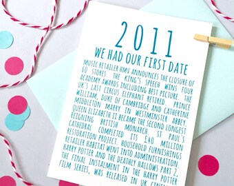 2011 Facts Anniversary or Birthday Card – Personalised Anniversary Card - Birthday Card for Son - Birthday Card for Daughter
