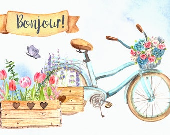 Bonjour! - Watercolor Clip Art Set