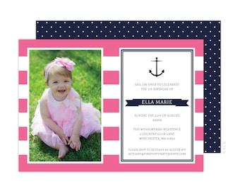 Nautical Photo Invitation (Pink Nautical Party, Nautical Birthday Banner, Anchor Banner, Girls Nautical Party, 1st Birthday Invitation)