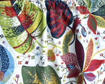 Curtain panel white red green blue yellow leaves Botanical Decor Cafe curtain Kitchen valance , also runner , napkins available, great GIFT