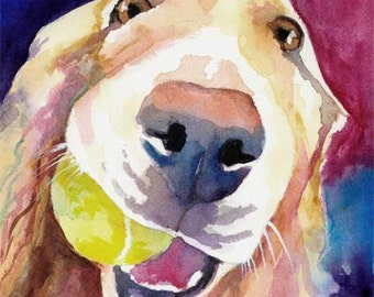 Golden Retriever Art Print - from original watercolor painting - 8x10 signed by artist - dog art