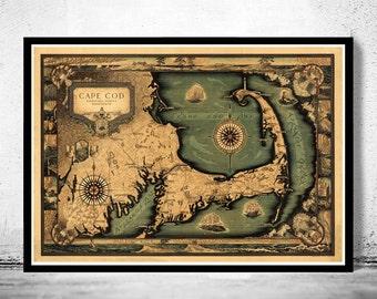 Vintage Cape Cod Map Illustrated Massachusetts