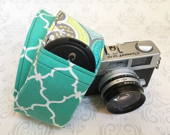DSLR Camera Strap, Padded with Lens Cap Pocket, Nikon, Canon, DSLR Photography, Photographer Gift, Wedding - Teal Moroccan